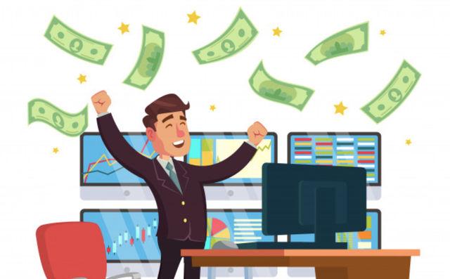 Трейдер празднует большую прибыль от инвестиций