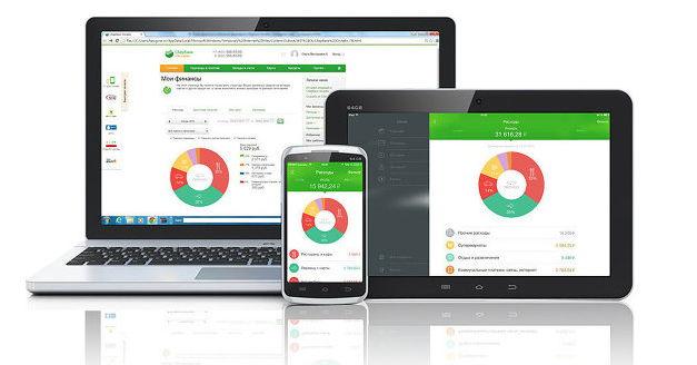 Интерфейс системы анализа финансов Сбербанка на различных устройствах