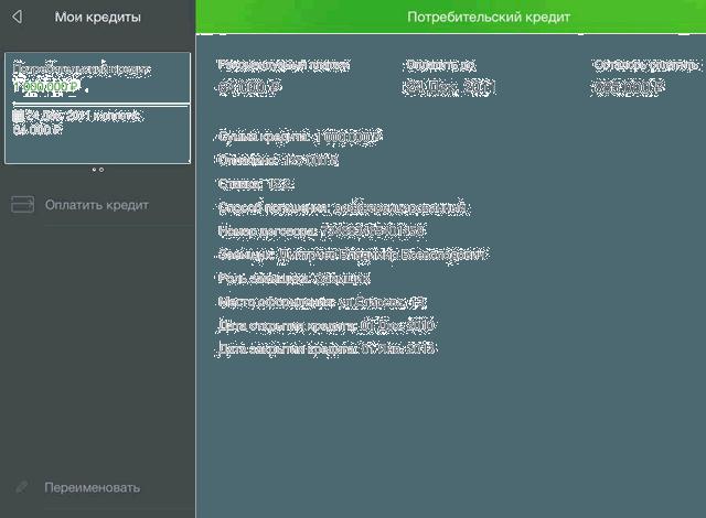Страница управления кредитом через приложение для iPad