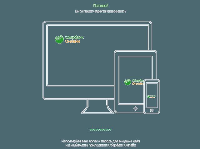 Сообщение об успешной регистрации логина в Сбербанк Онлайн