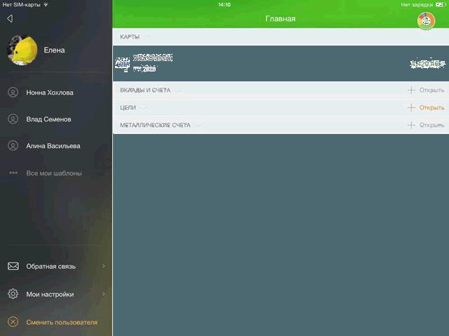 Стандартный профиль клиента-пользователя приложения Сбербанк ОнЛайн для iPad