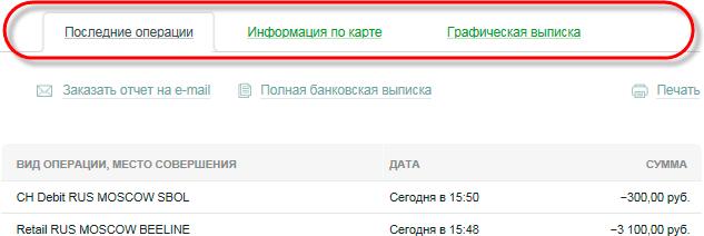 Информационные закладки в личном кабинете Сбербанка ОнЛайн