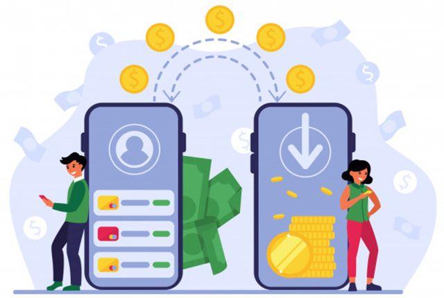 Изображение людей, использующих мобильные банковские услуги для перевода денег