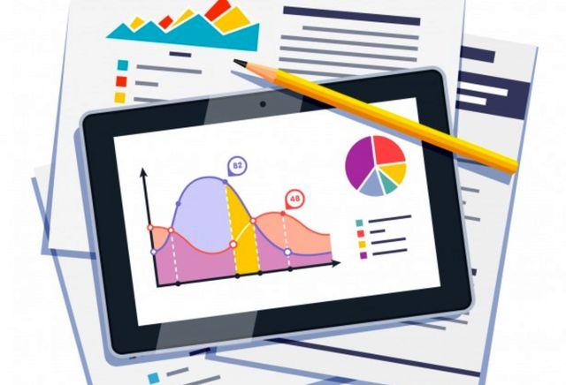 Статистические данные фондового рынка на бумаге и планшете