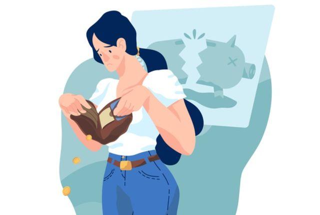 Девушка теряет деньги из раскрытого кошелька