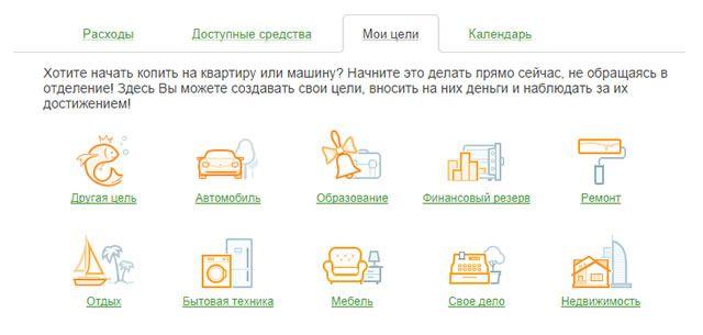 Раздел «Мои цели» в системе Сбербанк ОнЛайн