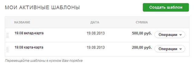 Информация по активным шаблонам платежей в Сбербанк ОнЛайн