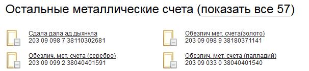 Список остальных металлических счетов в системе Сбербанк ОнЛайн