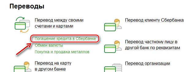 Ссылка перехода к форме погашения кредита через Сбербанк ОнЛайн