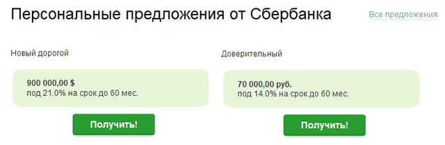 Персональные кредитные предложения для пользователей системы Сбербанк ОнЛайн