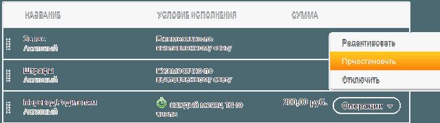 Ссылка на функцию приостановки выполнения автоплатежа
