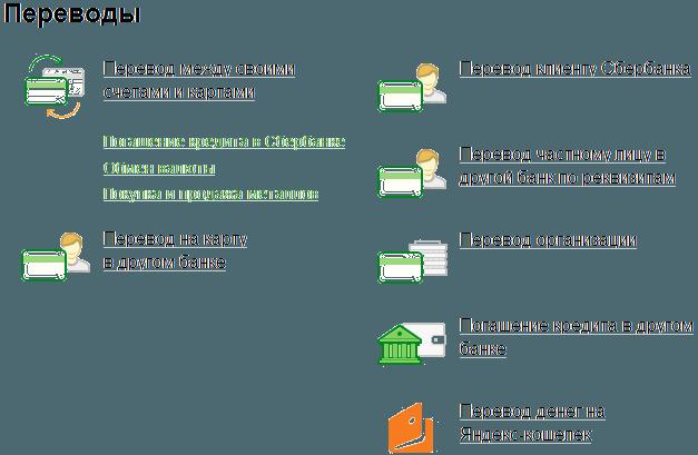 Страница со списком возможных переводов через систему Сбербанк ОнЛайн