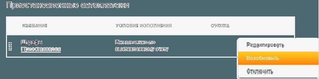 Ссылка в Сбербанк ОнЛайн для возобновления исполнения автоплатежей