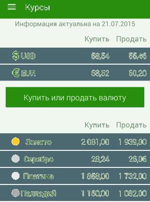 Отображение курсов в мобильном приложении Сбербанк ОнЛайн на Android