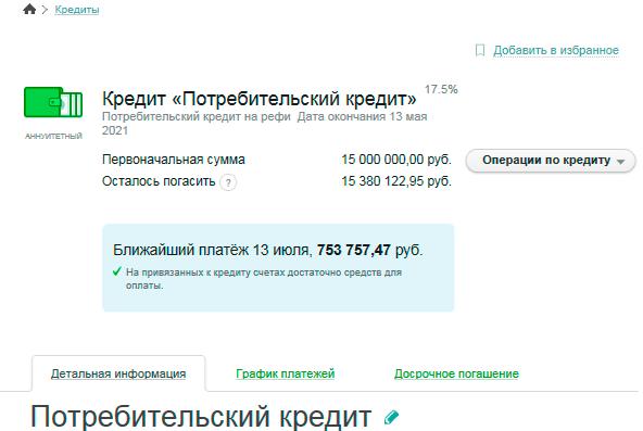 Пример подробной информации по кредиту в Сбербанк ОнЛайн