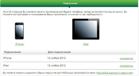 Список зарегистрированных приложений в Сбербанк ОнЛайн