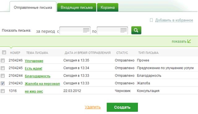 Страница отправленных писем в службу поддержки системы Сбербанк ОнЛайн