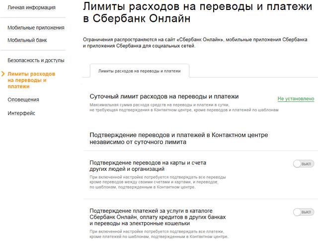 Страница настройки лимитов на переводы через Сбербанк ОнЛайн
