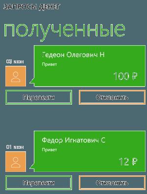 Раздел запросы денег в приложении Сбербанк ОнЛайн для Windows Phone