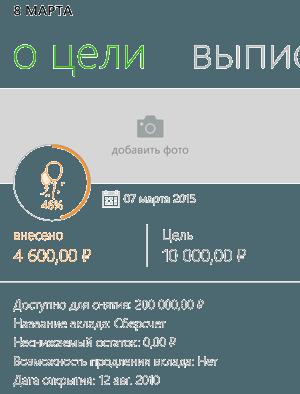 Информация о целевом счете пользователя приложения Сбербанк ОнЛайн Windows Phone