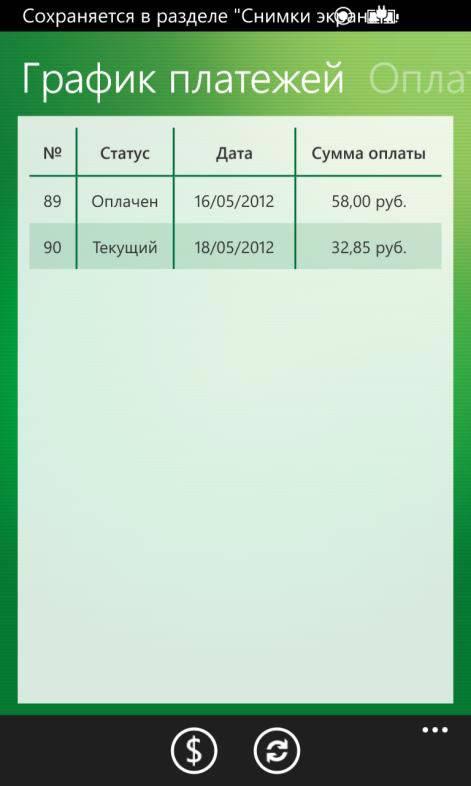 Детальная информация по кредиту. Вкладка График платежей мобильного приложения Сбербанк ОнЛайн для Windows Phone